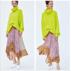 Zara Floral Patchwork Asymmetric Skirt